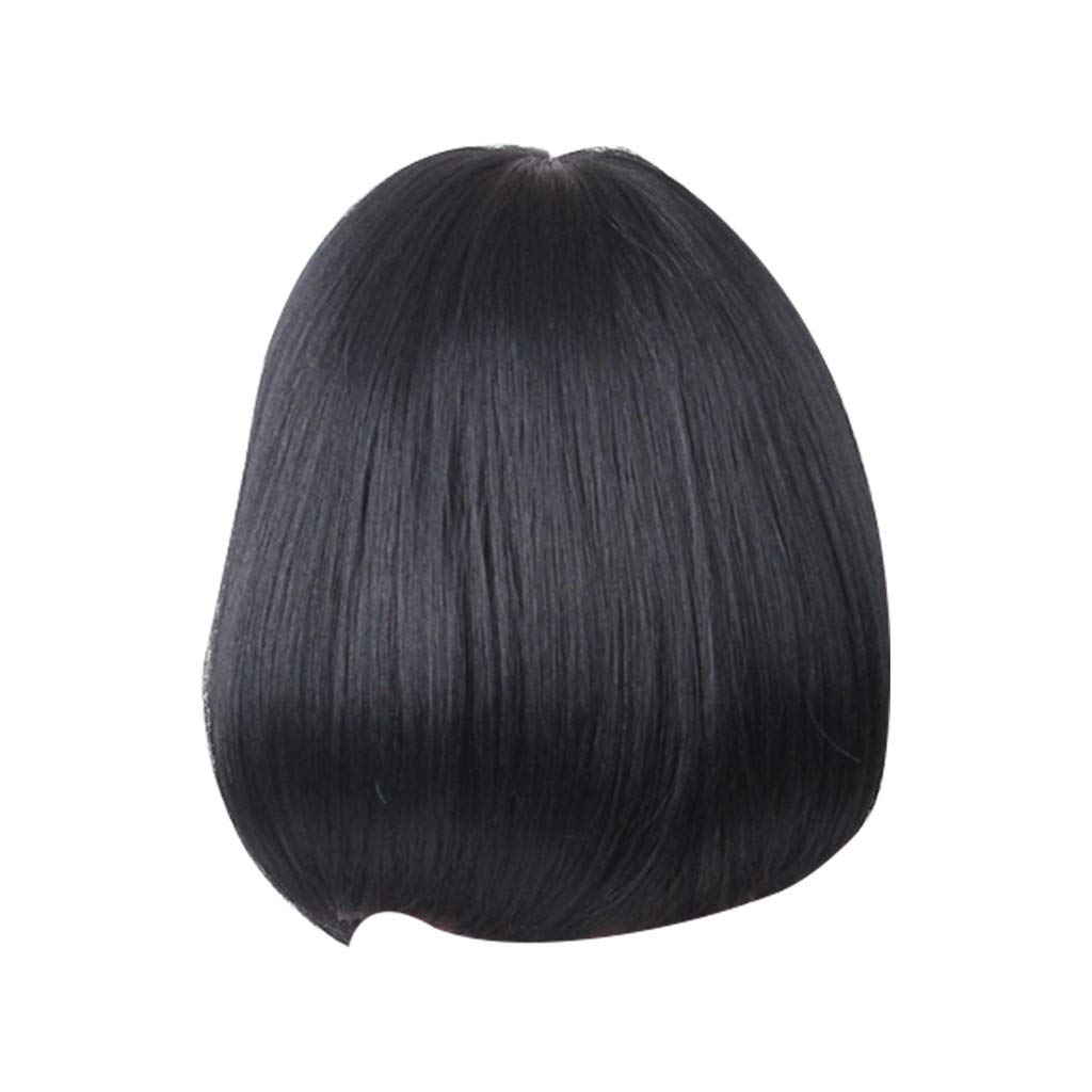 Wig,SUPPION High Quality Black BOBO Straight Wigs Real Human Hair Fashion Women Wigs - 12 inch - Cosplay/Party/Costume/Carnival/Masquerade (Black)