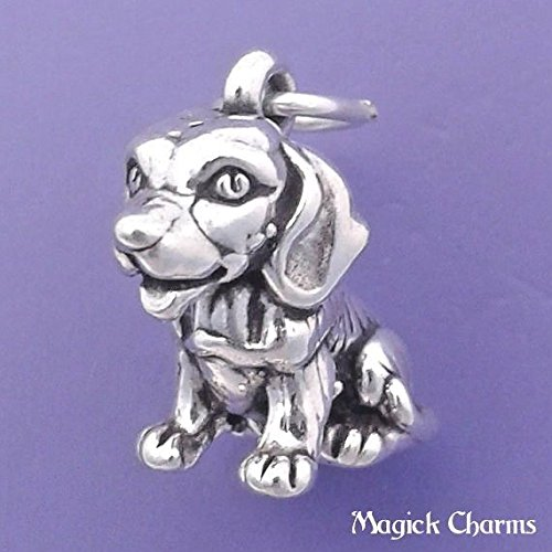 (925 Sterling Silver 3-D Beagle Dog Charm Pendant Jewelry Making Supply, Pendant, Charms, Bracelet, DIY Crafting by Wholesale)