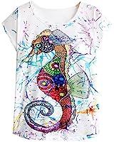 Futurino Women's Colorful Sea Horse Print Drop Sleeve T Shirt Tops,Multi,Small