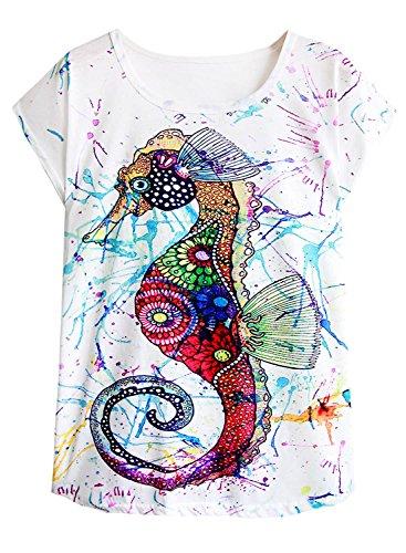 (futurino Women's Colorful Sea Horse Print Drop Sleeve T Shirt Tops (XL, Multi))