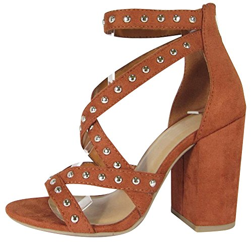 Cambridge Select Women's Open Toe Crisscross Strappy Studded Chunky Block Heel Sandal (10 B(M) US, Rust IMSU)