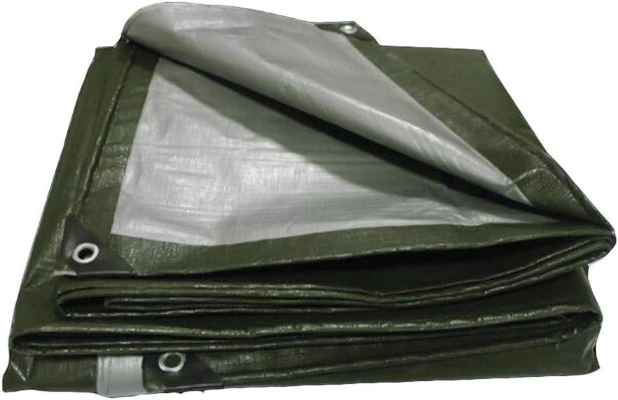 DALL ターポリン 両面防水 アウトドアキャンプ シェードカバー 180g /㎡ 厚さ0.35mm PEタープ メタルアイレット (Color : Green, Size : 10×12m)
