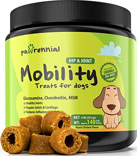 Pawrennial Glucosamine for Dogs - 140 Soft Chews Treats - Natural & Organic Hip and Joint Supplement for Dogs, Glucosamine Chondroitin for Dogs, MSM Turmeric & Hemp Seed Virgin Oil Omega 3-6
