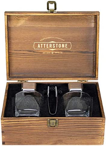 Atterstone 4-Piece Whiskey Box Set, 2 Stainless Steel Chilling Stones, 2 300-ml Whiskey Glasses and Silicone-tipped Tongs, Classic Stained Wooden Finish, Tasting Kit Gift Set for Whiskey Aficionados