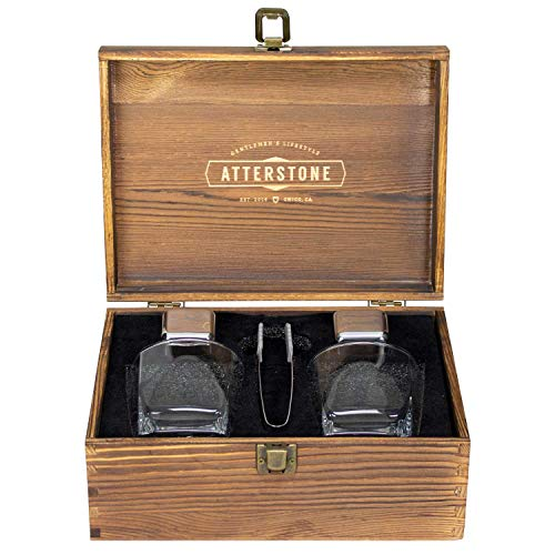 hiskey Box Set, 2 Stainless Steel Chilling Stones, 2 300-ml Whiskey Glasses and Silicone-tipped Tongs, Classic Stained Wooden Finish, Tasting Kit Gift Set for Whiskey Aficionados ()