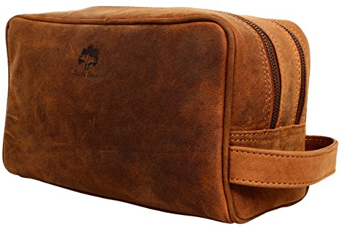 Genuine Buffalo Leather (Handmade Buffalo Genuine Leather Toiletry Bag Dopp Kit Shaving and Grooming Kit for Travel ~ Gift for Men Women ~ Hanging Zippered Makeup Bathroom Cosmetic Pouch Case by Rustic Town ( Tan ))