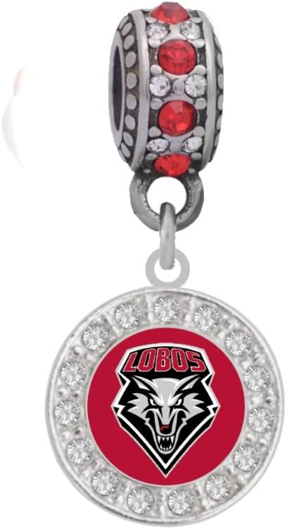 University of New Mexico Charm Fits Compatible With Pandora Style Bracelets  (Crystal)