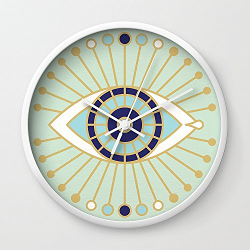 Society6 Evil Eye Collection Wall Clock White Frame, White Hands