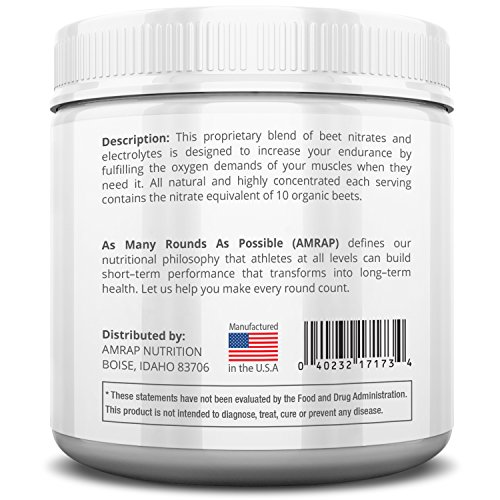 AMRAP Nutrition Pure Beet Juice Powder All Natural Organic Optimal Nitric Oxide Support for Increased Endurance With Electrolytes