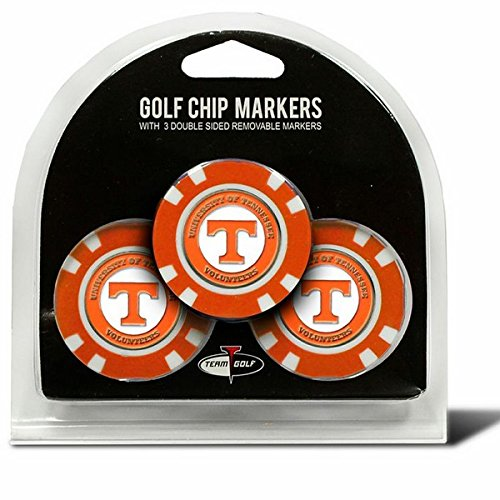 Set of 3 University of Tennessee Volunteers Poker Chips with removable Golf Ball Markers (Balls University 3 Golf)