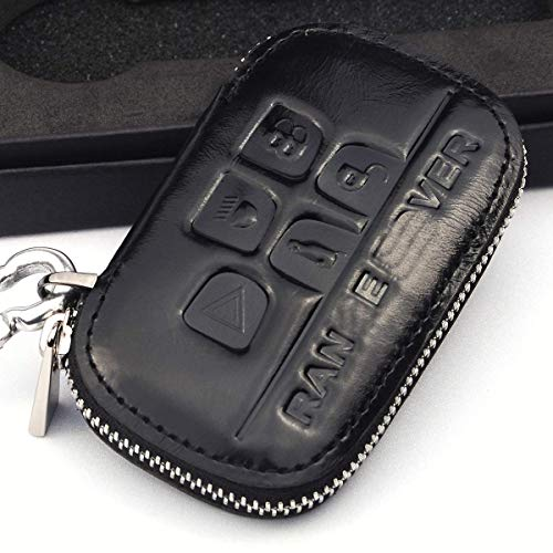 Cadtealir Genuine Waxy Leather Key fob Cover case Holder with Zipper for Range Rover evoque Sport velar hse Land Rover lr3 lr2 lr4 Discovery Black Color ()