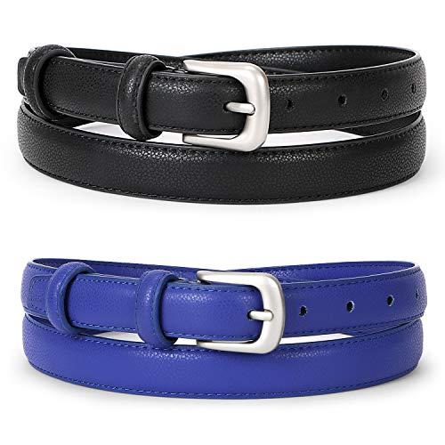 WERFORU Women Leather Belt Waist Skinny Dress Belts Solid Pin Buckle Belt For Jeans ()