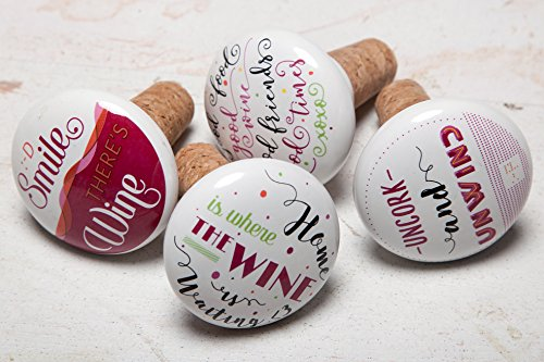 Kenley Wine Bottle Stoppers with Funny & Positive Quotes - Wedding Favors or Gift for Friends - Set of 4 Decorative Reusable Corks - Assorted Beverage Wine Bar Accessories - Ceramic & Cork