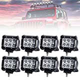 Lightfox 8Pcs 18W 4Inch Spot LED Light Bar CREE LED Pod Fog Lights