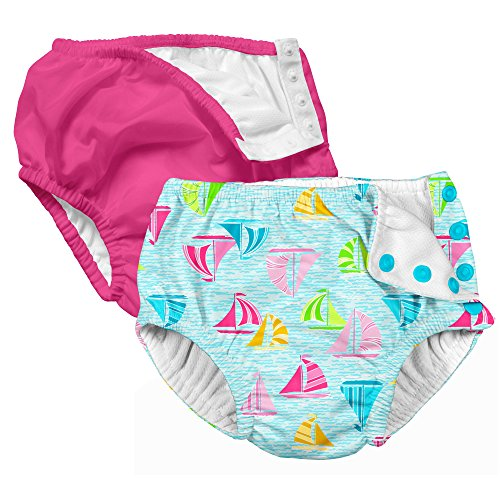 i play. 2 Pack Girls Reusable Baby Swim Diapers Swim Diapers Hot Pink and Aqua Sailboats 12 Months