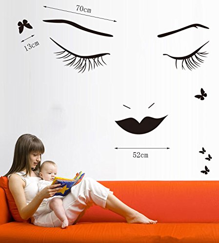 Black Long Eyelashes Lip Beauty Wall Stickers DIY Mural Art Decal Self Adhesive Removable PVC Wall Paper Decor for Bedroom Living (Beauty Sticker)