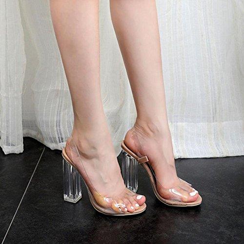 Schuhe Transparent Fisch Party Mund mit Dinner apricot und dick MZG Frauen 100 Crystal Sandalen IHqwS7Ig