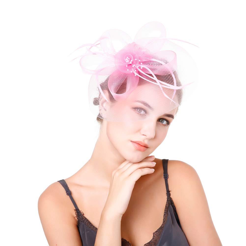 Ssowun Chapeau de Mariage Femme,El/égant Chapeau Bibi Fascinator Mariage Chapeau Plume Cocktail Chapeau de C/ér/émonie Bibi Accessoires Cheveux Party Festival