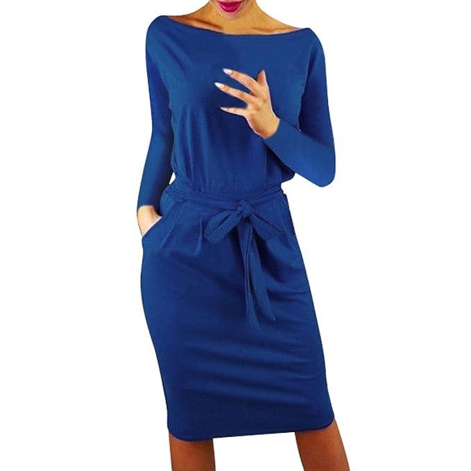 0168e768fa7f10 kingko® Damen Freizeit Kleid mit Gürtel Elegant Rundhals Midi Kleider  Blusenkleider Ballkleid Festkleid Frauen Langarm Tasche Wickelkleider  Abendkleider ...