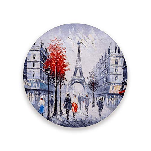 YYZZH Oil Painting Eiffel Tower Valentines Couple Red Maple Tree On Street Paris City Landscape Coasters for Drinks Set of 1, 2, 4 Round Cup Mat Pad Present Housewarming Birthday or Holiday Party