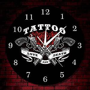 Guokee Logotipo del Tatuaje Reloj de Pared Amor y Rosa y Tatuaje ...