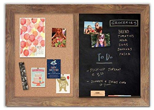 Handcrafted Combo Board with Barnyard Frame / Magnetic Chalkboard + Cork Board by The Cork Board Shop