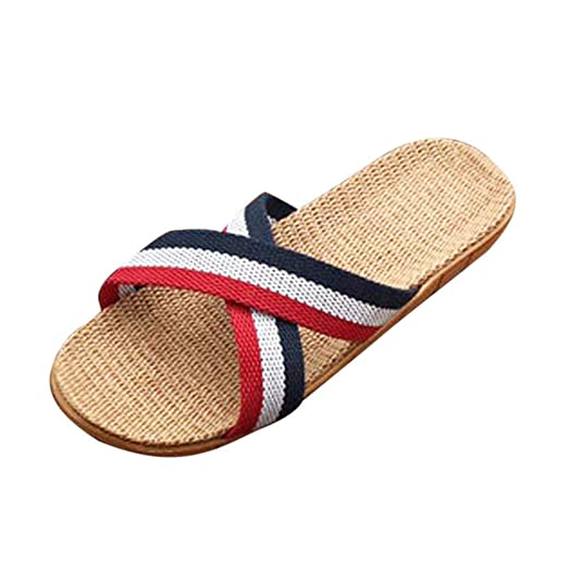 8c35beac6cb31 Amazon.com: BODOAO Flats Linen Shoes Slippers Women Men Anti-Slip ...