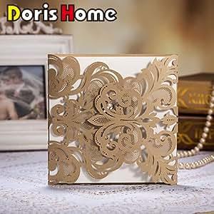 Doris Home Champange Gold Laser-cut Lace Flower Pattern Wedding Invitations Cards, 100 pcs