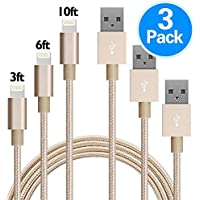 3-Pack GANJOY 3FT/6FT/10FT 8-pin USB Charger Cord (Gold)