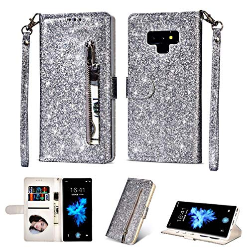 Galaxy Note 9 Zipper Wallet Case,NIFENY Glitter Sparkle Leather [Folio Style] Kickstand Protective Flip Cover with Card Holder Slots and Wrist Strap Magnetic Closure Phone Case. (Silver)