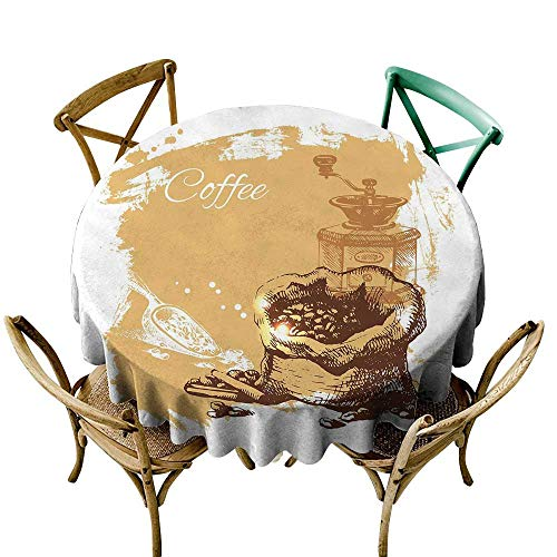 Price comparison product image Wendell Joshua Vinyl Tablecloth 39 inch Coffee, Vintage Sketch Art an Antique Mill and Bag of Beans with Cinnamon Sticks, Brown Pale Brown White Suitable for Indoor Outdoor Round Tables