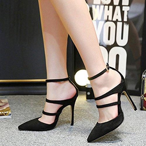 D2c Beauty Womens Cinturino Alla Caviglia A Punta Chiusa Da Sposa Con Tacco A Spillo Tacco Nero In Camoscio