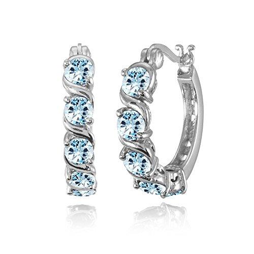 (Sterling Silver Blue Topaz S Design Round Hoop Earrings)
