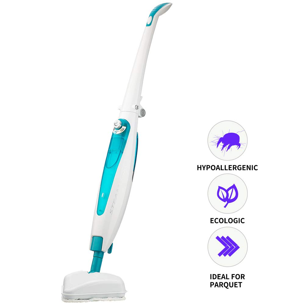 LUUKMONDE Steam Mop for Floor Cleaning Steam Cleaner Window Cleaner Carpet Tile Hard Floor Marble Cleaner 8M Length Power Cord Foldable Design Water Tank 500ml Steam Control with 2 Microfiber Pads by LUUKMONDE