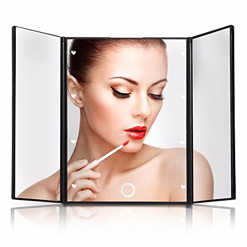 AveyLum Travel Makeup Mirror Lighted LED Mirror Portable & Tri Foldable Cosmetic Vanity Mirror Touchable Compact Mirrors With 8 Heart Shape LEDs, Perfect Gift Birthday Present for Ladies Mother Girls
