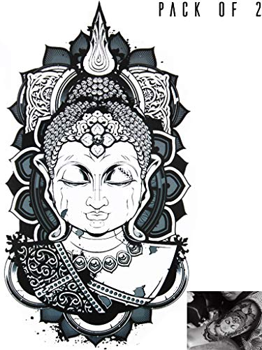 Novu Ink Serenity Buddha Temporary Tattoos | PACK OF 2 | Fake Tattoos | Art Design Transfers/Stickers | For Body, Arm, Leg etc | (22cm x 11cm) (Kanji Tattoos)