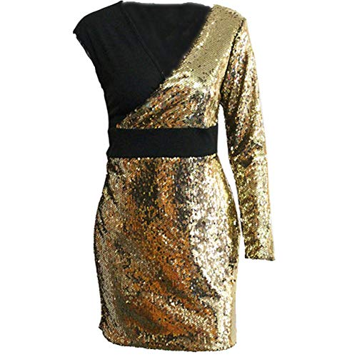 iLUGU V Neck Long Sleeve Mini Dress for Women Sequin Package Hip Red Dresses for Women