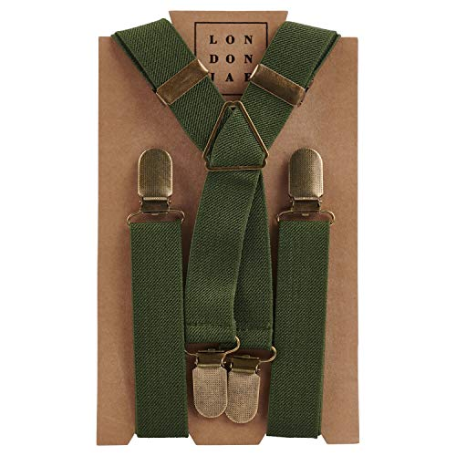 Elastic Suspenders for grooms, groomsmen, ring bearers attire with Brass Clips - By London Jae Apparel (Olive, Kids Small)