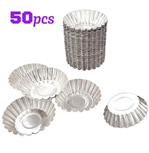 50pcs Aluminum Egg Tart Mold Cupcake Cake Cookie Tin Reusable Nonstick Small Round Muffin Baking Cups Torte Souffle Cheesecake Pie Chocolate Jelly Pudding Pan Fluted Baking Tool, Food Grade (Pie Candle Tarts)