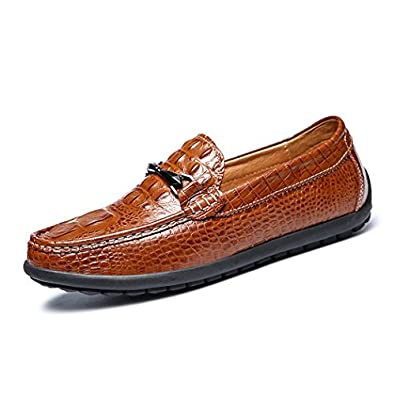 Men's Loafers Casual Slip Ons Driving Office Work School Shoes Flats First Layer Brown US6.5