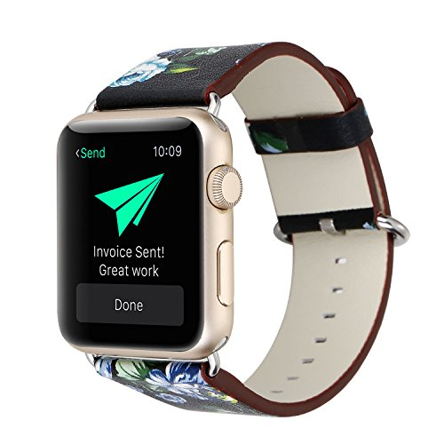 YOSWAN Bracelet For Apple Watch, National Black White Floral Printed Leather Watch Band 38mm 42mm Strap For Apple Watch Flower Design Wrist Watch Bracelet, 38mm, Black/Green Flower (Green Watch Wrist Black)