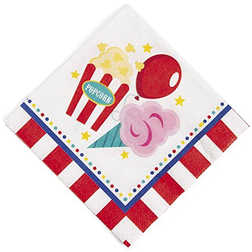 BirthdayExpress Carnival Party Supplies 48 Pack Beverage Napkins -