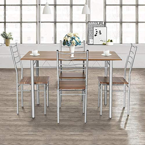 Giantex Modern 5 Piece Dining Table Set with 4 Chairs Metal Frame Wood Like Kitchen Furniture Rectangular Table & Chair Sets for Dining Room (Shallow Walnut) by Giantex (Image #1)