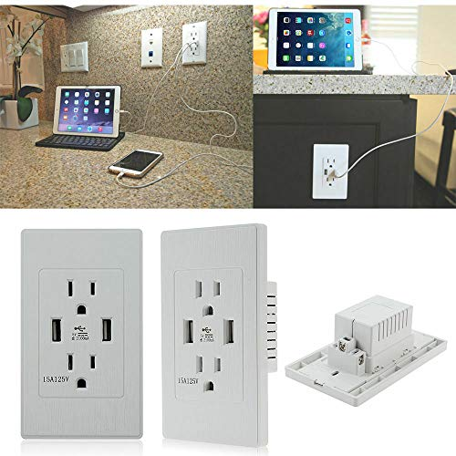 Charger ac power receptacle outlet 15a dual usb wall socket 2 packs white (The Ac Power Adapter Type Cannot Be Determined)