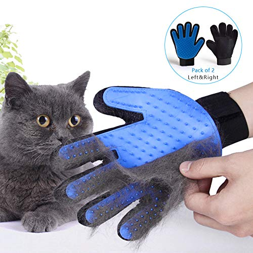 Livelynine Pet Hair Remover Blue Deshedding Glove Ajustable Dog Hair Remover Pet Grooming Glove Cat Hair Remover Fur Remover Fits All Hands, One Pair with Left & Right