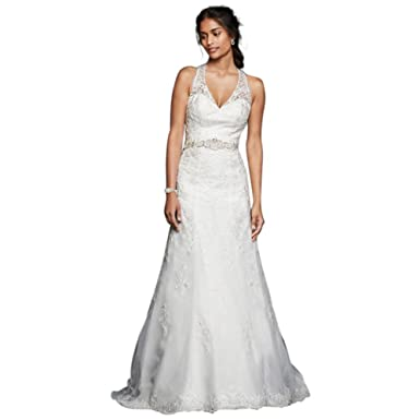 David\'s Bridal Petite Lace Wedding Dress With Halter Neckline Style ...