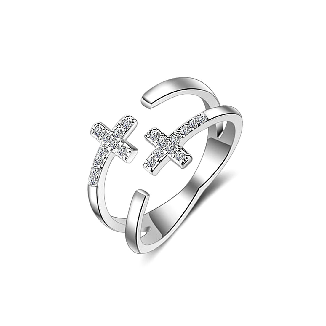 NEOWOO Cross Religious Ring Sterling Silver Cubic Zirconia Sideways CZ Open Adjustable Band Ring Gift