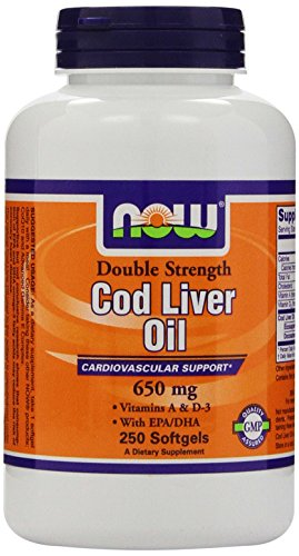 Now Foods Cod Liver Oil 2x 2500/270 A / D Soft-gels, 650 mg, 250-Count
