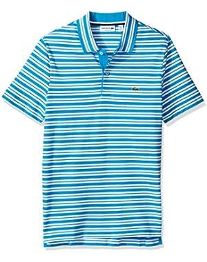 Men's Short Sleeve Pique with Stripe Rib Collar Polo