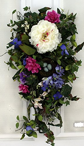 Birds Nest Bloom Spring Tear Drop Swag 28 in - Beautiful Alternative to a Wreath For The Front Door